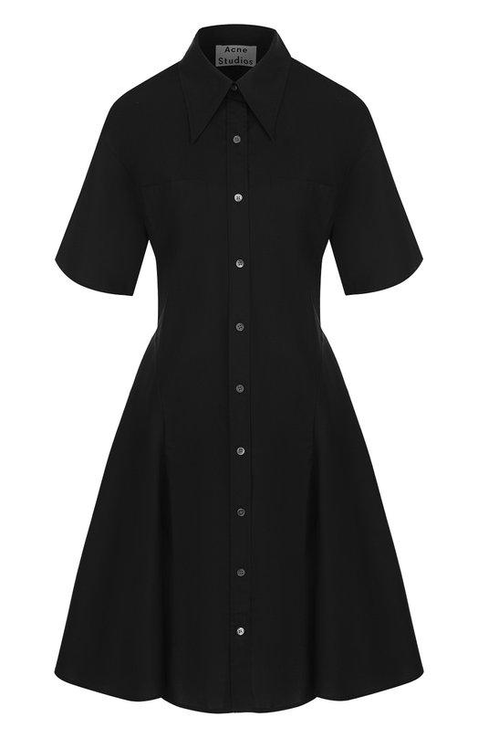 Купить Однотонное платье-рубашка из хлопка Acne Studios, 146181, Португалия, Черный, Хлопок: 100%;