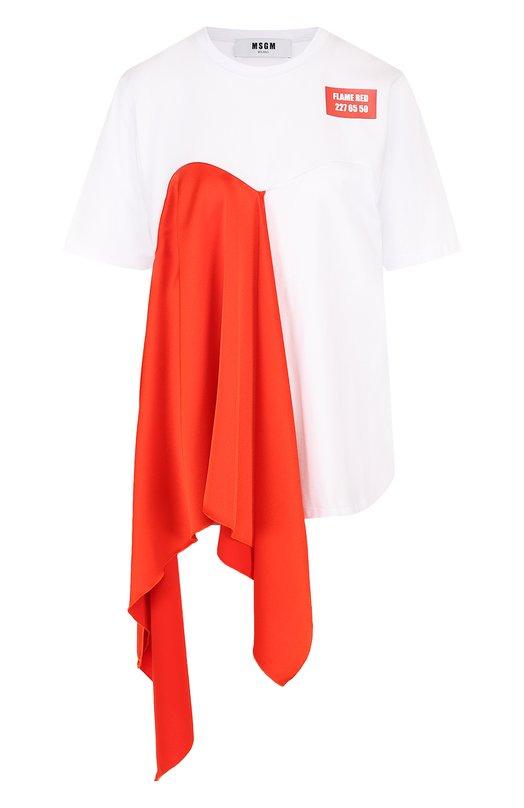 Купить Хлопковая футболка свободного кроя с контрастной оборкой MSGM, 2442MDM183 184299, Италия, Белый, Хлопок: 100%;