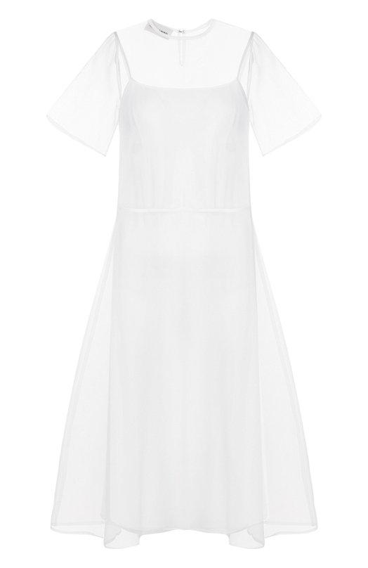 Шелковое платье-миди свободного кроя Mansur Gavriel, WWDVD007SI, Италия, Белый, Шелк: 100%;  - купить