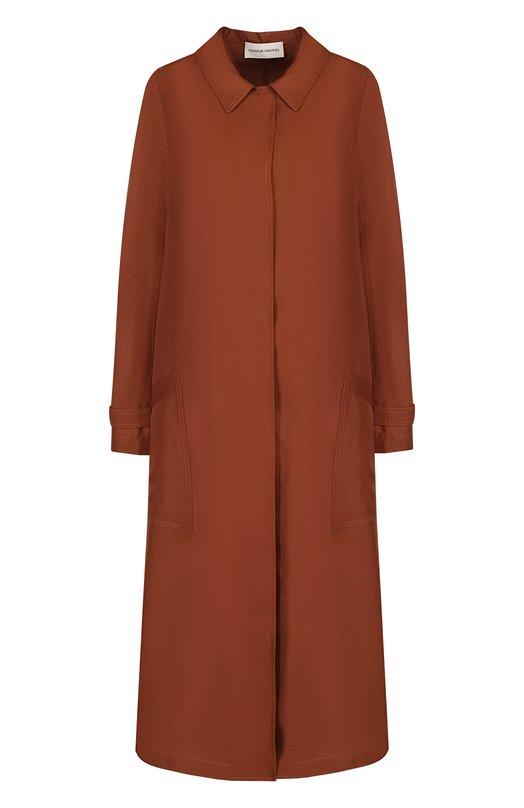 Купить Однотонное пальто свободного кроя из смеси вискозы и льна Mansur Gavriel, W0TR002VL, Италия, Коричневый, Вискоза: 66%; Лен: 34%;