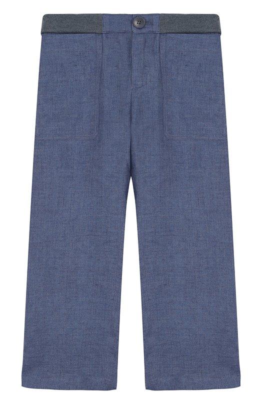 Купить Льняные брюки прямого кроя с эластичной вставкой на поясе Loro Piana, FAI0756, Италия, Синий, Лен: 100%;