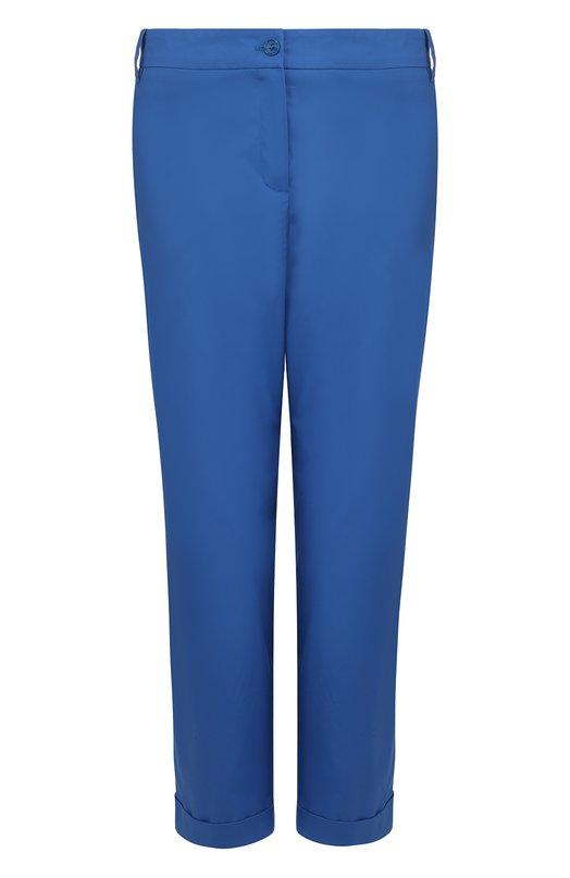 Купить Укороченные однотонные брюки из хлопка Van Laack, HELLO-KN_130050_SS18, Германия, Синий, Хлопок: 100%;