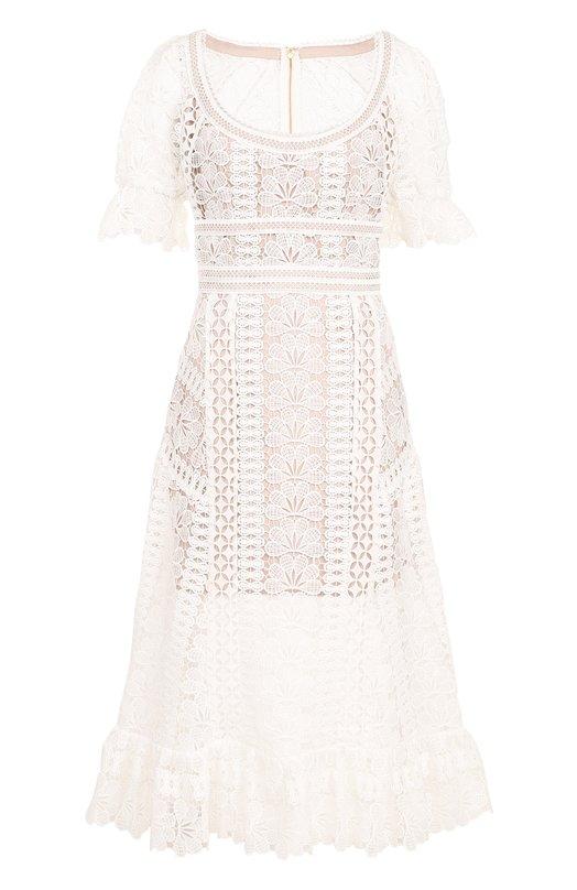 Купить Приталенное кружевное платье-миди self-portrait, SP17-029, Китай, Белый, Полиэстер: 100%; Подкладка-полиэстер: 100%;