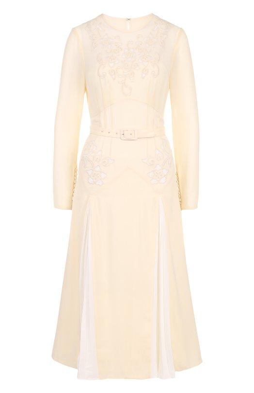 Купить Приталенное платье-миди с поясом self-portrait, SP17-065M, Китай, Кремовый, Полиэстер: 100%; Подкладка-полиэстер: 100%;