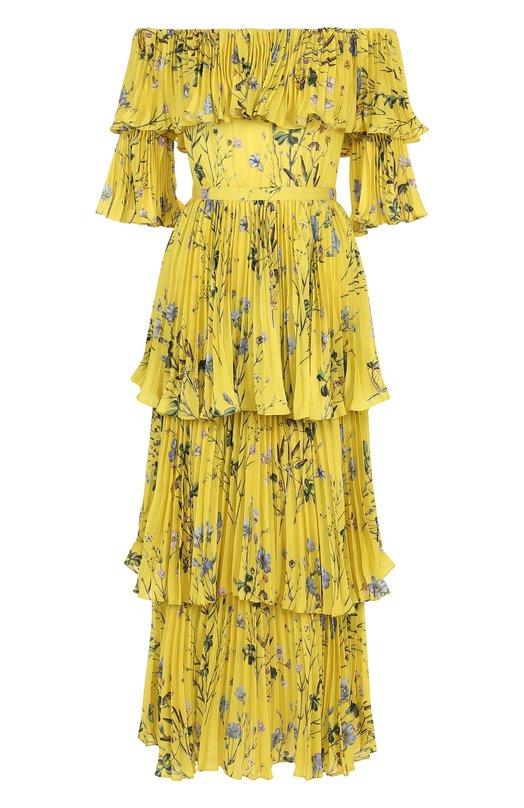 Купить Приталенное плиссированное платье-миди с принтом self-portrait, SP17-074, Китай, Желтый, Полиэстер: 100%; Подкладка-полиэстер: 100%;