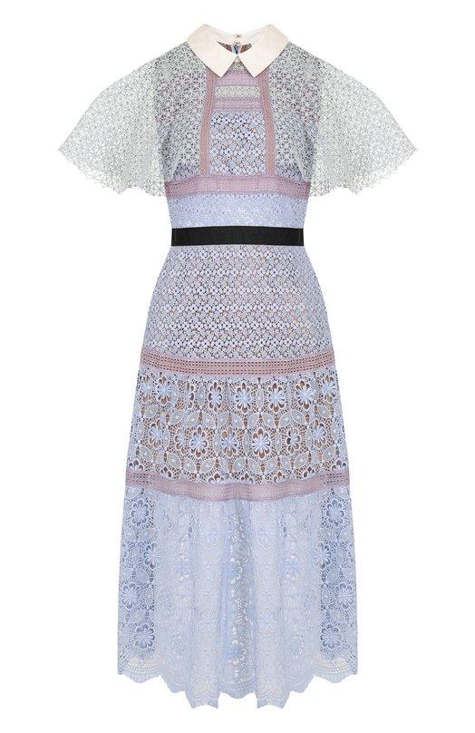 Купить Приталенное кружевное платье-миди self-portrait, SP17-122, Китай, Голубой, Полиэстер: 100%; Подкладка-полиэстер: 100%;