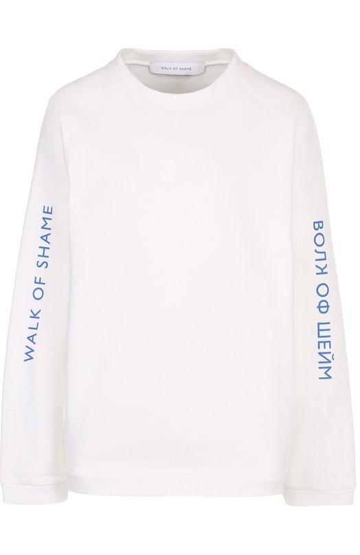 Купить Хлопковый свитшот свободного кроя с логотипом бренда Walk of Shame, SW013-SS18, Россия, Белый, Хлопок: 100%;