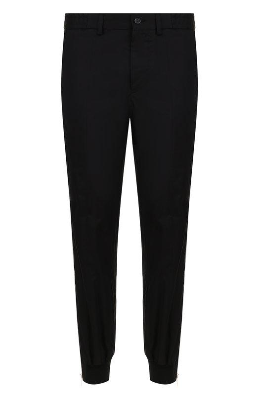 Купить Хлопковые брюки с поясом и манжетами на резинке Emporio Armani, W1P240/W1016, Италия, Черный, Хлопок: 100%;