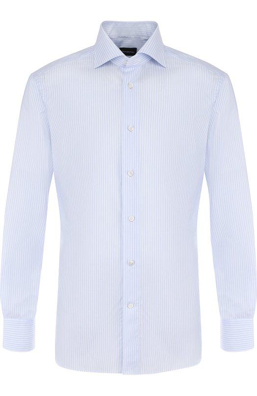 Купить Хлопковая сорочка с воротником кент Ermenegildo Zegna, 301326/9MS0BA, Румыния, Голубой, Хлопок: 100%;