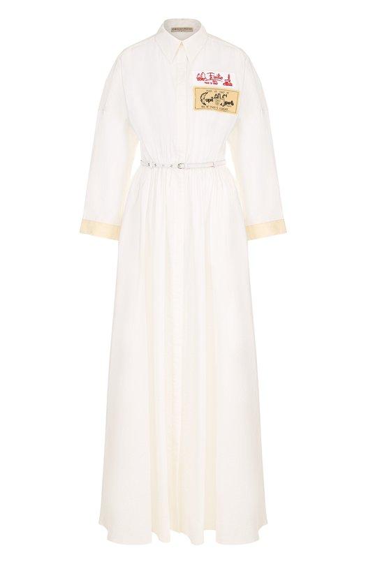 Купить Приталенное шелковое платье-макси Emilio Pucci, 82RL46/82666, Италия, Белый, Шелк: 76%; Полиамид: 24%;