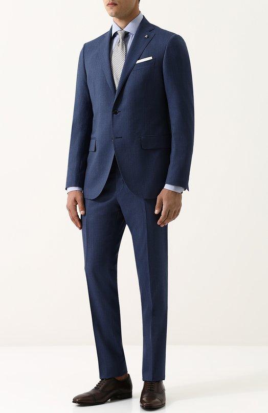 Купить Шерстяной костюм с пиджаком на двух пуговицах Sartoria Latorre, A057EF U30021, Италия, Синий, Шерсть: 100%; Подкладка-купра: 100%;