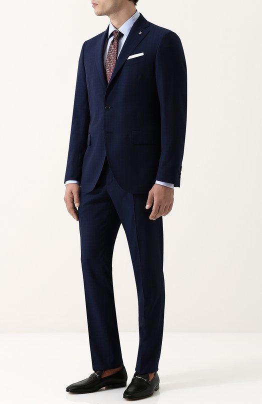 Купить Шерстяной костюм с пиджаком на двух пуговицах Sartoria Latorre, A057EF U30652, Италия, Темно-синий, Шерсть: 100%; Подкладка-купра: 100%;
