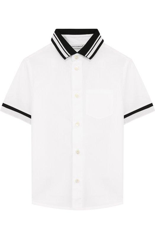 Купить Хлопковая рубашка с контрастной отделкой Dolce & Gabbana, L4JS22/G70BL/2-6, Италия, Белый, Хлопок: 100%;