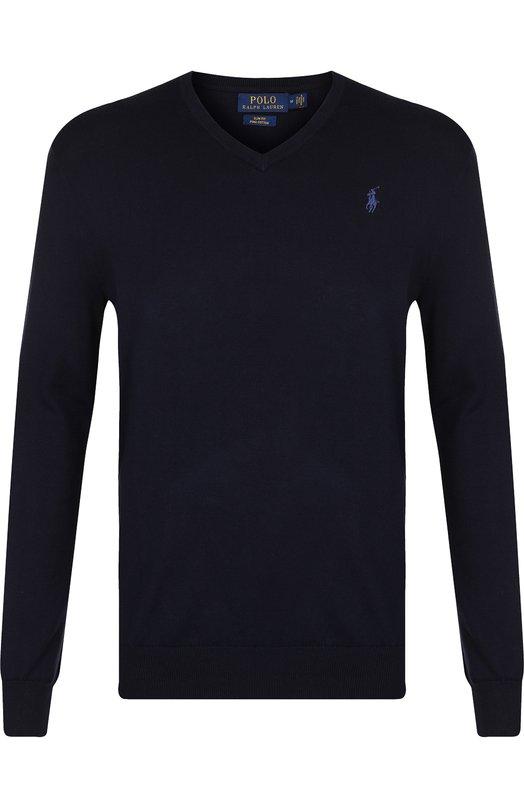 Купить Хлопковый пуловер тонкой вязки Polo Ralph Lauren, 710670789, Китай, Темно-синий, Хлопок: 100%;