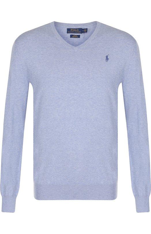 Купить Хлопковый пуловер тонкой вязки Polo Ralph Lauren, 710670789, Китай, Голубой, Хлопок: 100%;