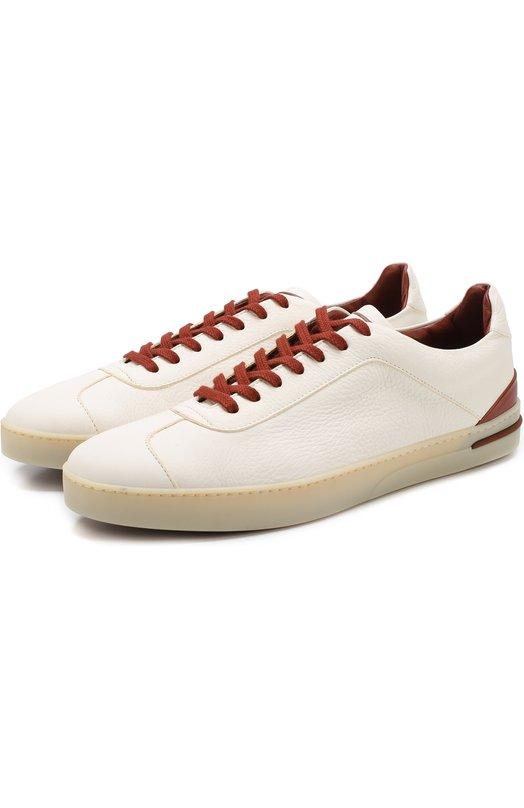 Купить Кожаные кеды 70'S Walk на шнуровке Loro Piana, FAI1018, Италия, Белый, Кожа натуральная: 100%; Стелька-кожа: 100%; Подошва-резина: 100%;