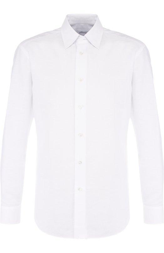 Купить Рубашка из смеси льна и хлопка с воротником кент Brioni, SC1317/P3121, Италия, Белый, Лен: 67%; Хлопок: 33%;