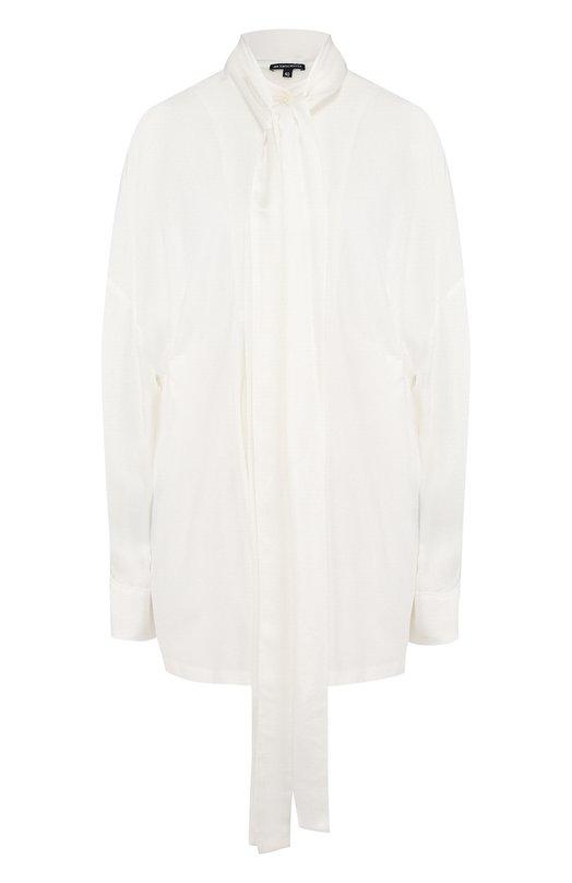Купить Однотонная блуза свободного кроя с воротником аскот Ann Demeulemeester, 1801-1834-P-136-002, Португалия, Белый, Триацетат: 56%; Полиэстер: 44%; Вискоза: 100%;