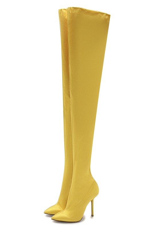 Купить Текстильные ботфорты на шпильке Vetements, 17966-VE102, Италия, Желтый, Подошва-кожа: 100%; Текстиль: 100%; Подкладка-текстиль: 100%;