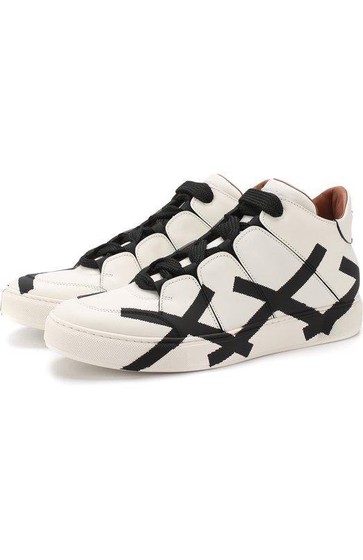 Купить Высокие кожаные кеды на шнуровке Zegna Couture, A3043X-MSF, Италия, Черно-белый, Подошва-Резина: 90%; Подкладка-Кожа: 100%; Кожа: 100%; Кожа натуральная: 100%; Стелька-Кожа: 100%; Подошва-Кожа: 10%;