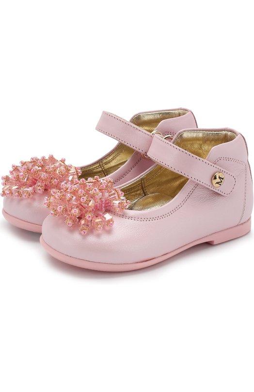 Купить Кожаные туфли с декором на застежках велькро Missouri, 4424/18-26, Италия, Розовый, Кожа натуральная: 100%; Стелька-кожа: 100%; Подошва-резина: 100%;