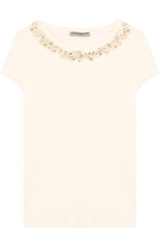 Купить Хлопковая футболка с декоративной вышивкой и кристаллами Ermanno Scervino, 42 I TS31/10-16, Италия, Белый, Хлопок: 93%; Эластан: 7%;