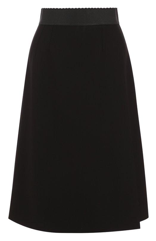 Купить Однотонная шерстяная юбка-миди с поясом Dolce & Gabbana, F4A9DT/FU2V6, Италия, Черный, Подкладка-шелк: 94%; Подкладка-эластан: 6%; Шерсть: 100%;