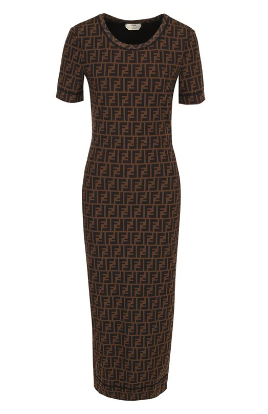 Купить Платье-миди с круглым вырезом и логотипом бренда Fendi, FD9627 A3BI, Италия, Коричневый, Подкладка-вискоза: 93%; Полиамид: 85%; Подкладка-эластан: 7%; Эластан: 15%;