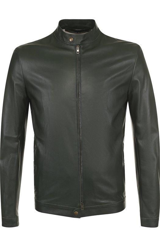 Купить Кожаная куртка на молнии с воротником-стойкой Salvatore Santoro, 34514-U/LIS, Италия, Темно-зеленый, Кожа натуральная: 100%; Подкладка-хлопок: 100%;
