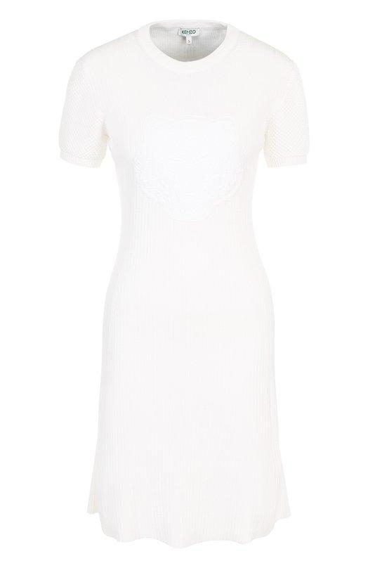 Однотонное хлопковое мини-платье с круглым вырезом Kenzo Kenzo