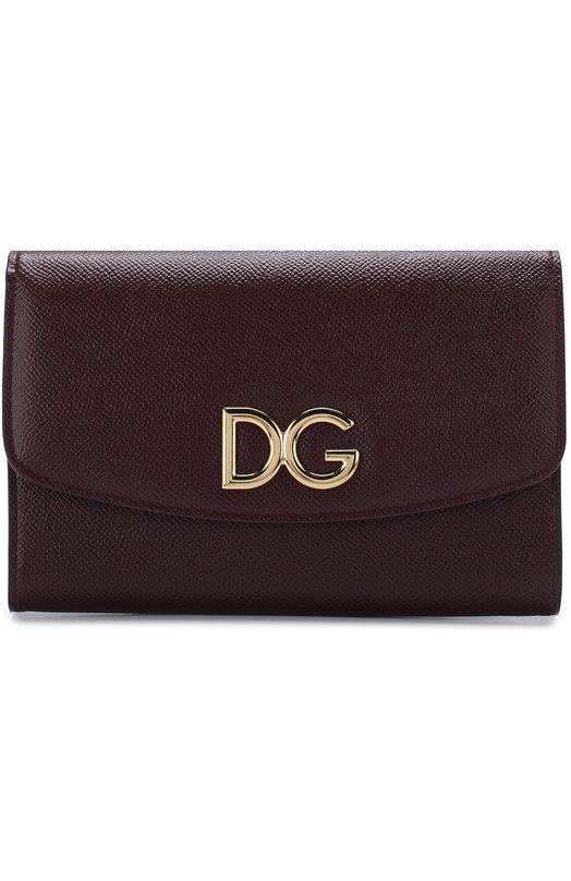 Купить Кожаный клатч на цепочке Dolce & Gabbana, BI1028/AH338, Италия, Бордовый, Кожа натуральная: 100%;