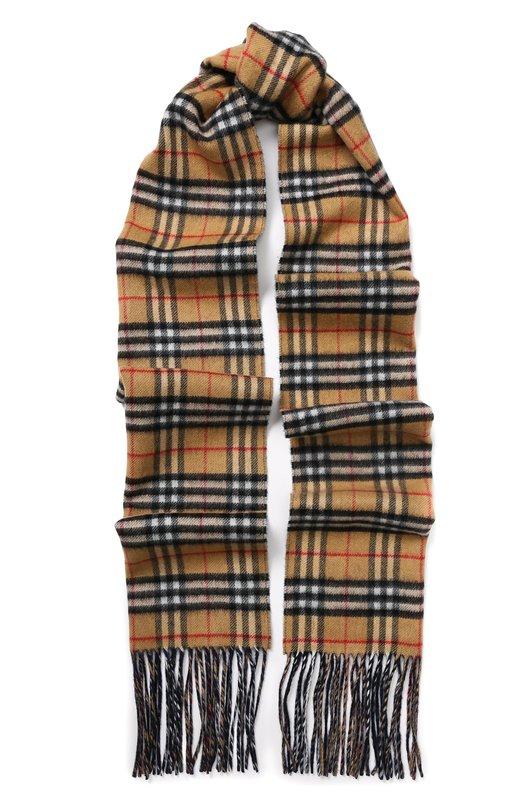 Купить Кашемировый шарф в клетку с бахромой Burberry, 4070156, Великобритания, Голубой, Кашемир: 100%;