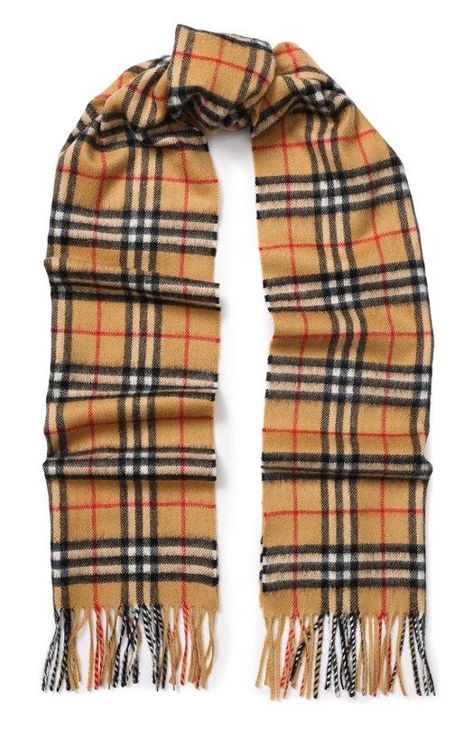 Купить Кашемировый шарф в клетку с бахромой Burberry, 4073122, Великобритания, Желтый, Кашемир: 100%;