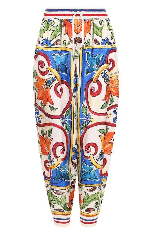 Купить Шелковые джоггеры с принтом Dolce & Gabbana, FTAZTT/FH1LZ, Италия, Разноцветный, Шелк: 100%;