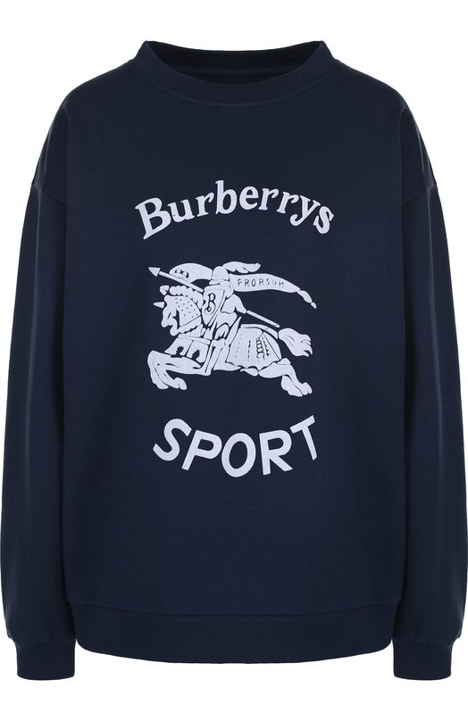 Купить Хлопковый пуловер с круглым вырезом и принтом Burberry, 4548015, Португалия, Синий, Хлопок: 82%; Полиэстер: 18%;