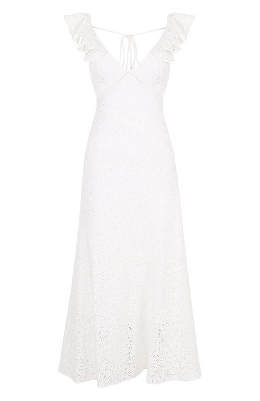 Однотонное хлопковое платье-миди с V-образным вырезом Polo Ralph Lauren, 211713917, Индия, Белый, Хлопок: 100%;  - купить