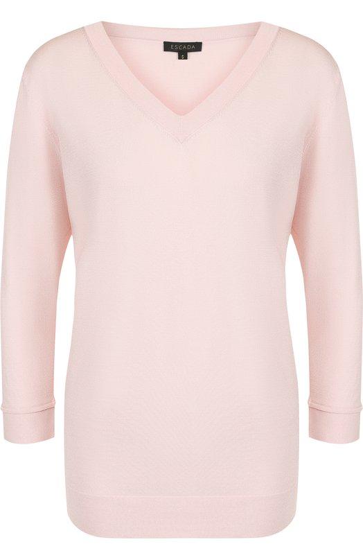 Купить Однотонный пуловер из вискозы с V-образным вырезом Escada, 5025099, Китай, Светло-розовый, Вискоза: 77%; Полиамид: 23%;
