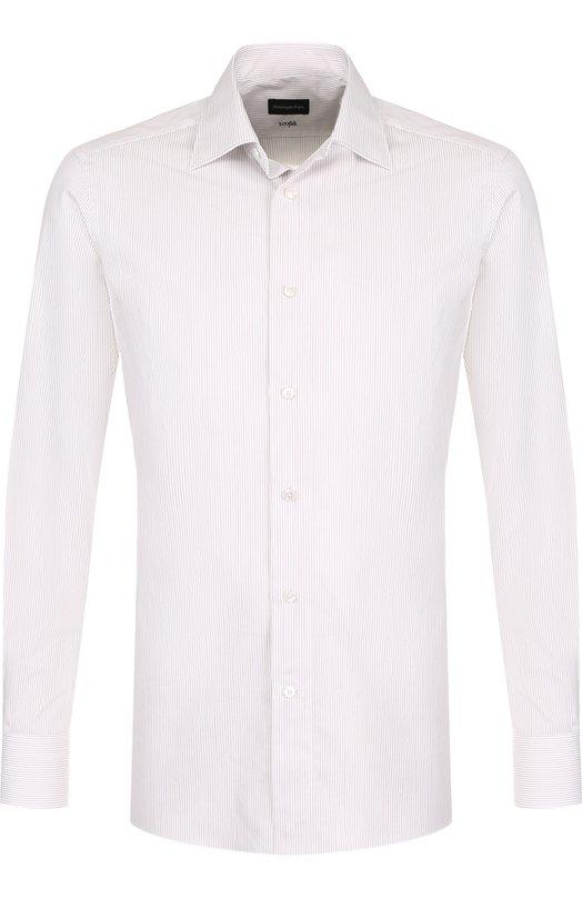 Купить Хлопковая сорочка с воротником кент Ermenegildo Zegna, 301227/9MS0PA, Румыния, Бежевый, Хлопок: 100%;