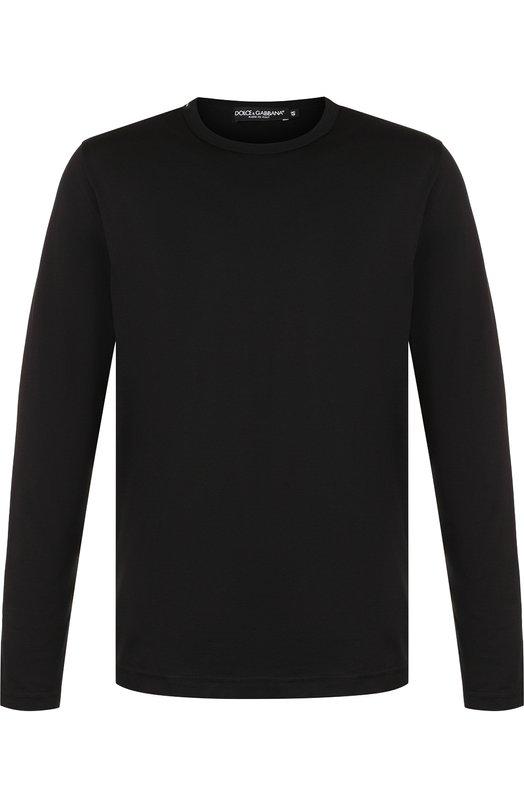 Купить Хлопковый лонгслив с круглым вырезом Dolce & Gabbana, G8GX6T/FU7EQ, Италия, Черный, Хлопок: 100%;