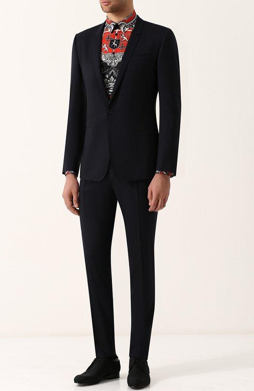 Купить Шерстяной костюм с пиджаком на одной пуговице Dolce & Gabbana, GK0QMT/FUBEC, Италия, Темно-синий, Шерсть овечья: 98%; Подкладка-купра: 63%; Подкладка-вискоза: 35%; Эластан: 2%; Подкладка-шелк: 2%;