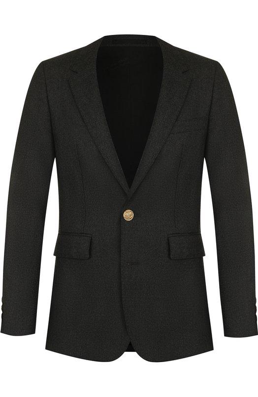 Купить Однобортный шерстяной пиджак Burberry, 4062182, Румыния, Темно-серый, Подкладка-купра: 54%; Подкладка-хлопок: 46%; Шерсть: 100%;