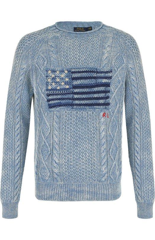 Купить Хлопковый джемпер фактурной вязки Polo Ralph Lauren, 710693036, Китай, Голубой, Хлопок: 100%;