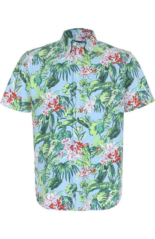 Купить Хлопковая рубашка с воротником button down Polo Ralph Lauren, 710692562, Филиппины, Синий, Хлопок: 100%;