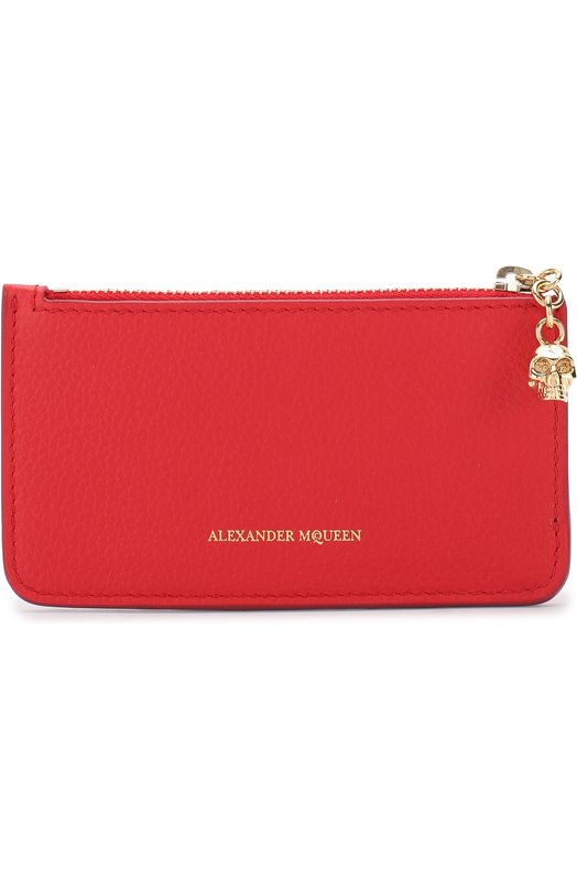 Купить Кожаный футляр для кредитных карт с отделением на молнии Alexander McQueen, 501022/BPT0G, Италия, Красный, Кожа натуральная: 100%;
