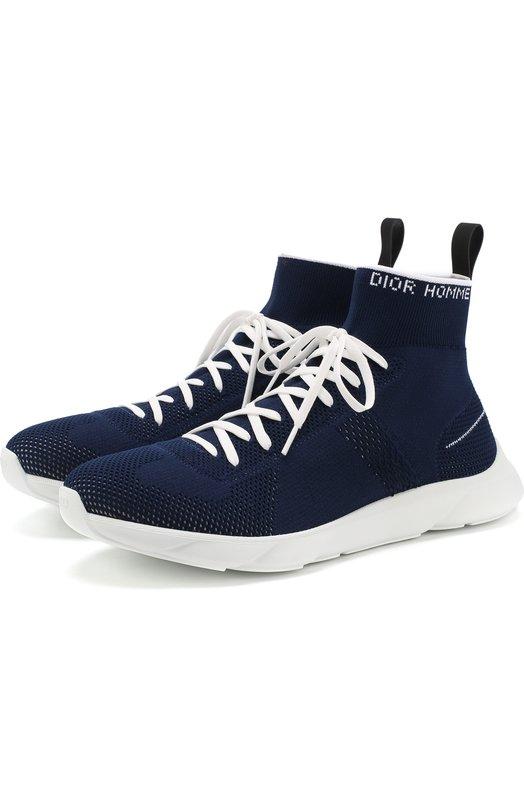 Купить Высокие текстильные кроссовки на шнуровке Dior, 3SN224YAE, Италия, Темно-синий, Подошва-резина: 100%; Текстиль: 100%; Стелька-текстиль: 100%; Подошва-каучук: 100%; Подкладка-текстиль: 100%;