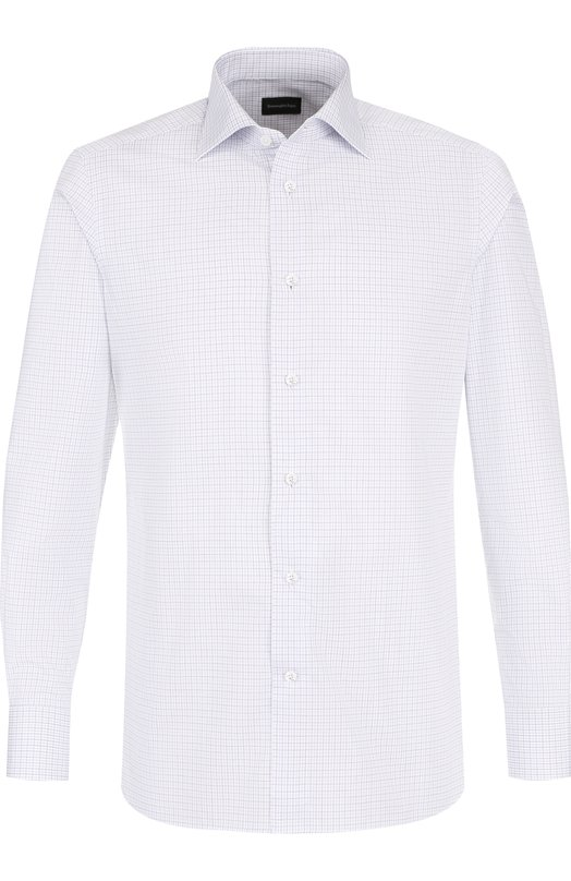 Купить Хлопковая сорочка с воротником кент Ermenegildo Zegna, 301564/9MS0BR, Италия, Синий, Хлопок: 100%;