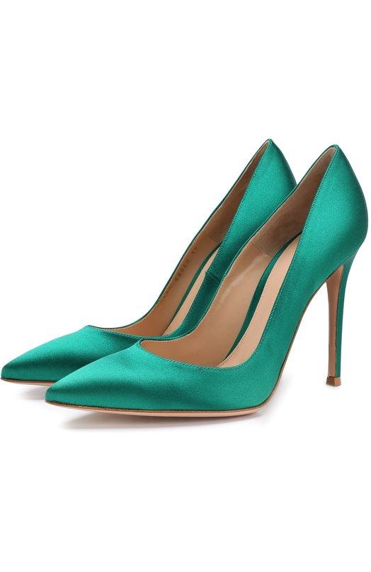 Купить Атласные туфли Gianvito 105 на шпильке Gianvito Rossi, G28470.15RIC.RASEMER, Италия, Зеленый, Стелька-кожа: 100%; Подошва-кожа: 100%; Текстиль: 100%;