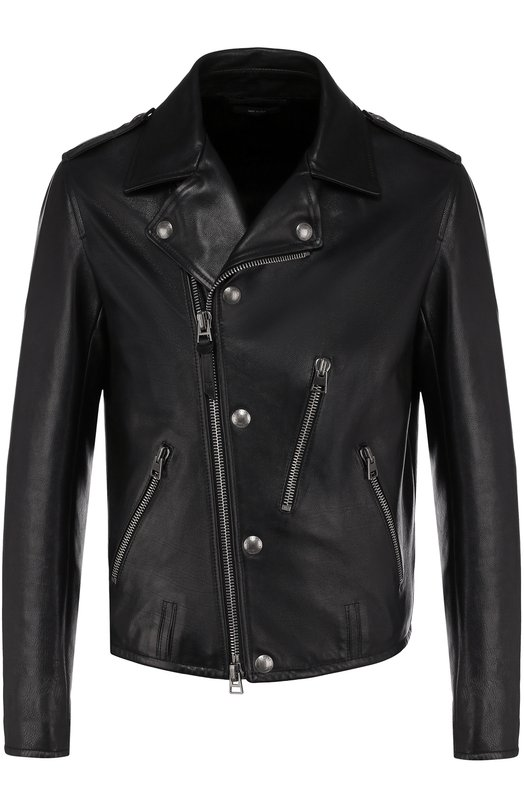 Купить Кожаная куртка с косой молнией Tom Ford, BP481/TFL588, Италия, Черный, Подкладка-купра: 55%; Подкладка-хлопок: 45%; Кожа натуральная: 100%;