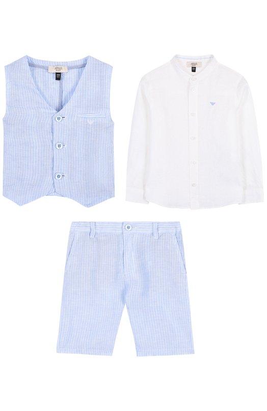 Купить Льняной комплект из рубашки и шорт с жилетом Armani Junior, 3ZHV06/4NFWZ, Китай, Голубой, Лен: 100%;