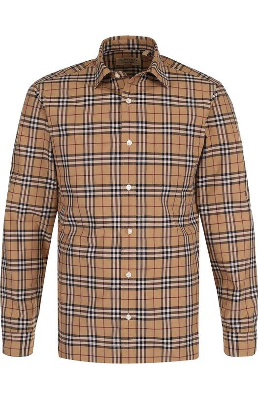Купить Хлопковая рубашка в клетку Burberry, 4061811, Таиланд, Бежевый, Хлопок: 100%;